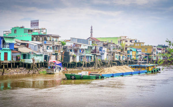 Photograph - Boat And Houses My Tho Vietnam by Gary Gillette