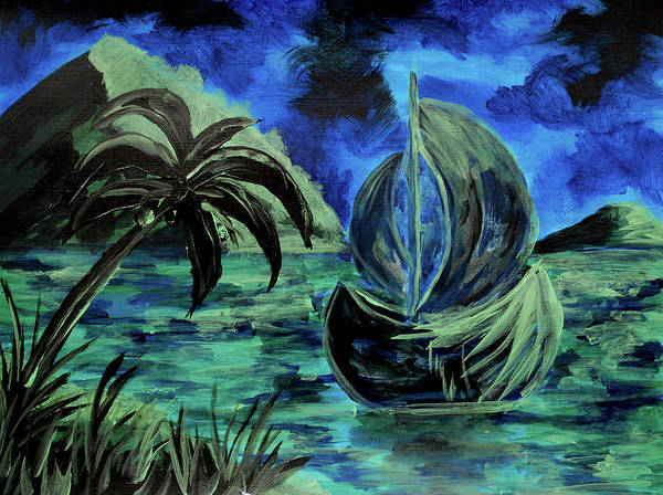 Painting - Boat At Night by ZeichenbloQ