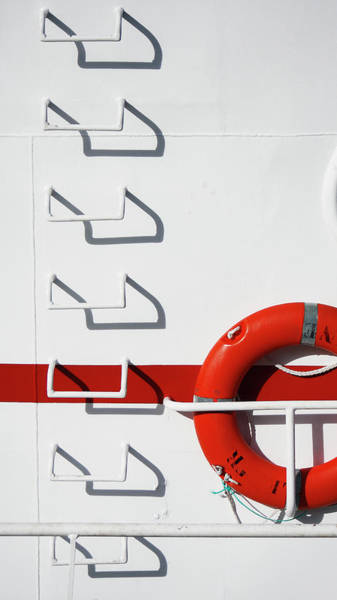 Copy Photograph - Boat Detail With Lifebuoy And Steps by Stuart Paton