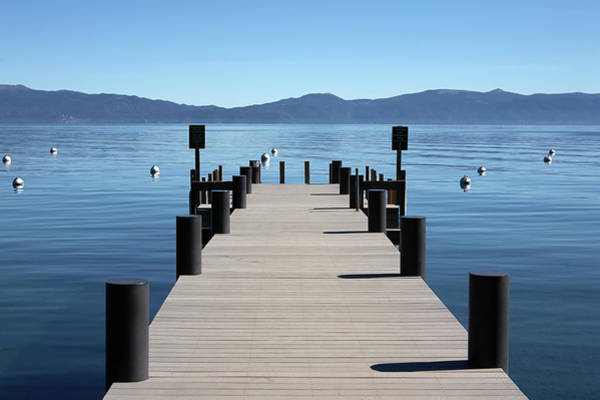 Sunny Photograph - Boat Dock Pier Out To Lake Tahoe And by Jason Todd