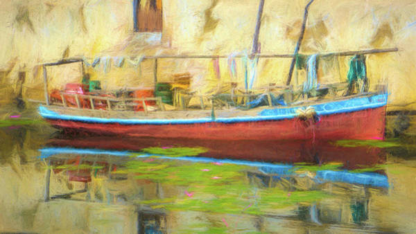 Digital Art - Boat Docked With Reflection by Jason Fink