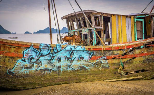 Photograph - Boat Graffiti Cat Ba Island by Gary Gillette