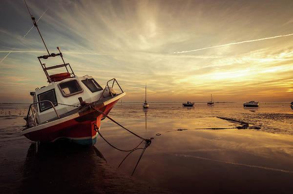 Southend Photograph - Boat In Low Tide Sunset by Scott Baldock