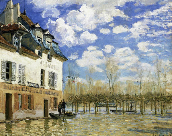 Riverbed Painting - Boat In The Flood At Port Marly - Digital Remastered Edition by Alfred Sisley