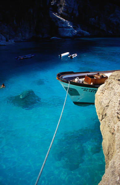 Sardinia Photograph - Boat In Water Of Cala De Mariolu, Golfo by Damien Simonis