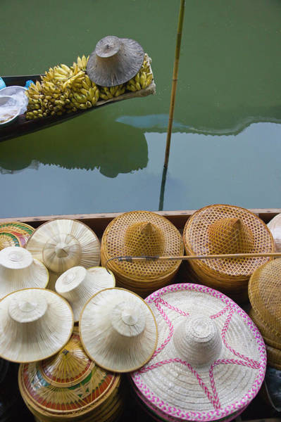 Thai Photograph - Boat Loaded With Bamboo Hats At by Keren Su