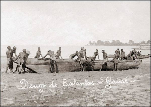 Nigeria Painting - Boat Of The Balanta People Guinea Bissau In West Africa by Celestial Images
