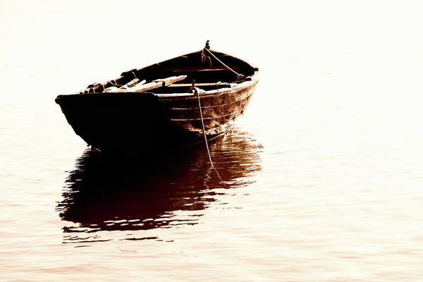 Rowboat Photograph - Boat On Lake by Fredfroese