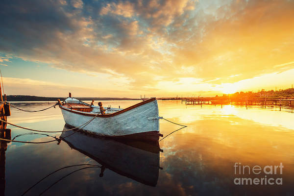 Wall Art - Photograph - Boat On Lake With A Reflection In The by Valentin Valkov