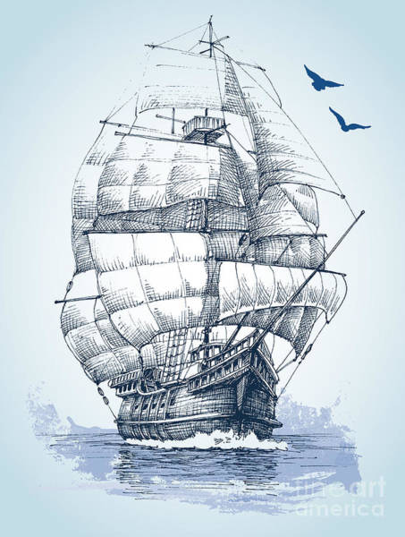 Float Wall Art - Digital Art - Boat On Sea Drawing. Sailboat Vector by Danussa