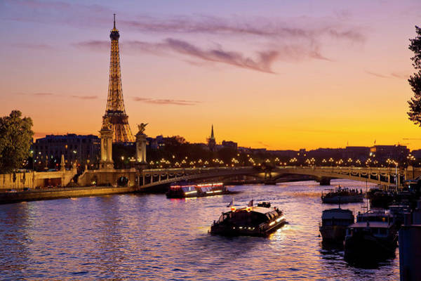Capital Cities Photograph - Boat On Seine River, Paris by Sylvain Sonnet