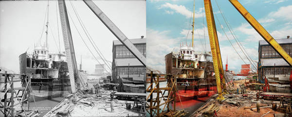 Photograph - Boat - Repair - From Death To Berth 1905 - Side By Side by Mike Savad