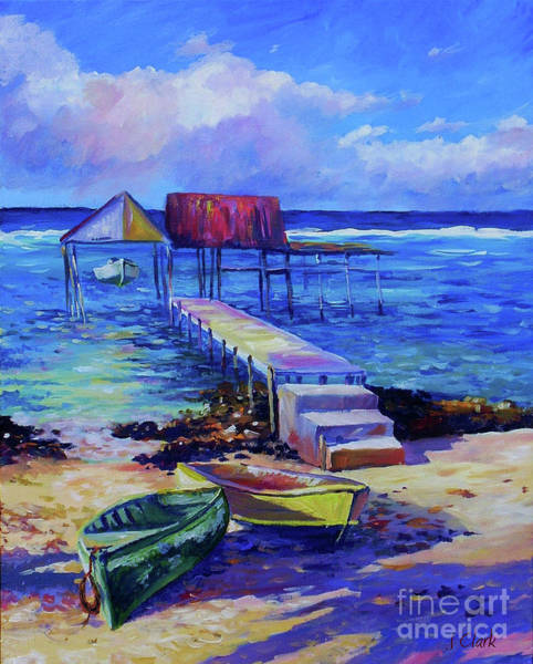 Cayman Painting - Boat Shed And Boats by John Clark