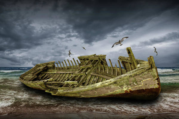 Photograph - Boat Shipwreck On The Beach Shore by Randall Nyhof