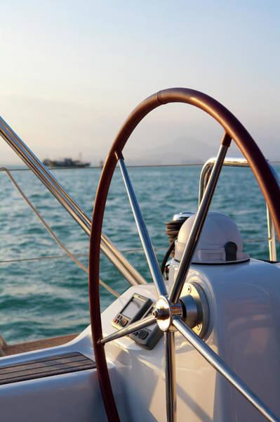Luxury Yacht Photograph - Boat Steering Wheel by Lane Oatey/blue Jean Images