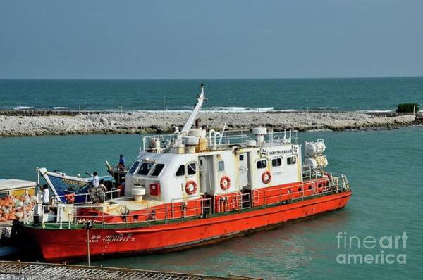 Photograph - Boat With Crew Readying For Departure At Harbor On Palk Strait Jaffna Peninsula Sri Lanka by Imran Ahmed