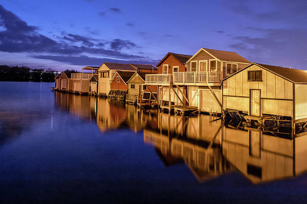 Photograph - Boathouse Reflections At Night by Rod Best