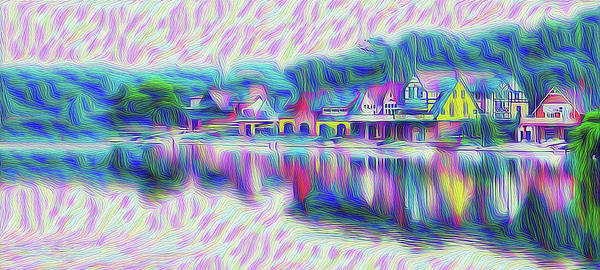 Photograph - Boathouse Row Rendoring by Bill Cannon