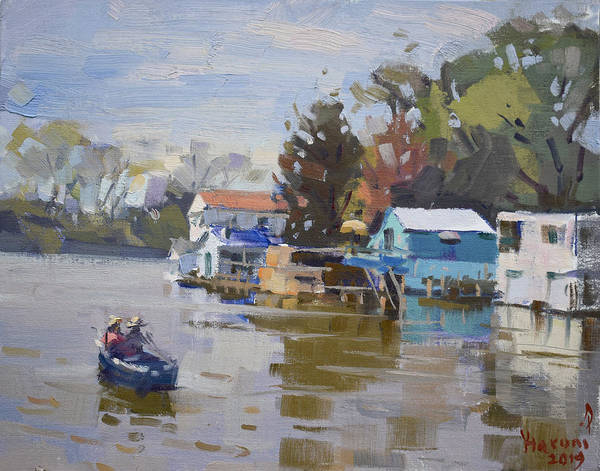 Wall Art - Painting - Boathouses At North Tonawanda Canal by Ylli Haruni