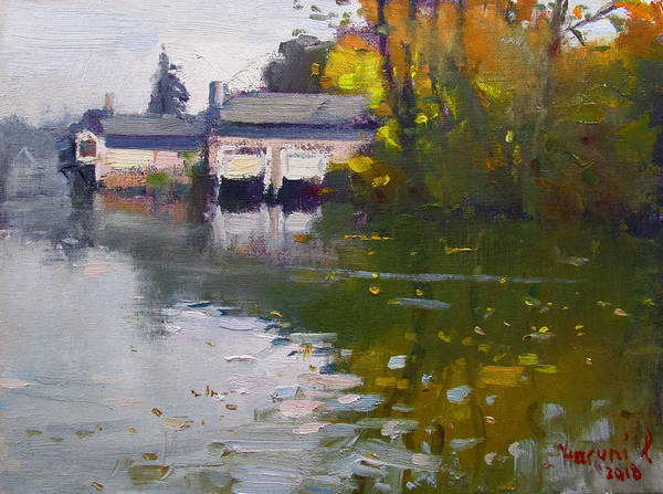 Tonawanda Wall Art - Painting - Boathouses In Fall by Ylli Haruni