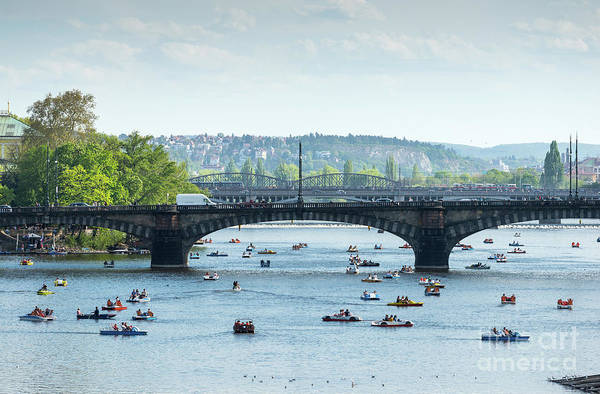 Photograph - Boating On Vltava In Prague by Les Palenik