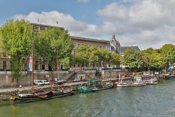 Wall Art - Photograph - Boats Along The Seine River, Paris by Darrell Gulin