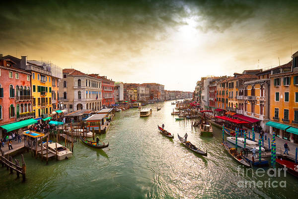 Wall Art - Photograph - Boats And Gondolas On The Grand Canal by Photoff