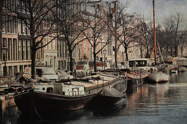 Wall Art - Photograph - Boats At Amsterdam Canal. Vintage by Jenny Rainbow