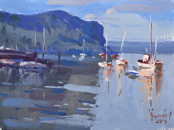 Wall Art - Painting - Boats At Hudson River In Rockland County by Ylli Haruni