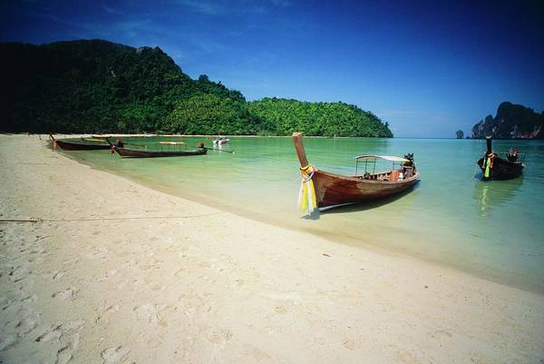 Boats At Ko Phi Phi Don Island In Art Print
