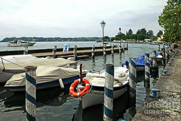 Digital Art - Boats At Lake Garda by Liz Alderdice