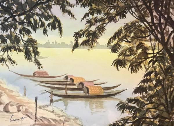 Kannan Painting - Boats At Princep Ghats by Kannan Ananthasubramani