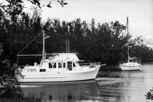 Photograph - Boats By The Cove Series 8892 In Bw by Carlos Diaz