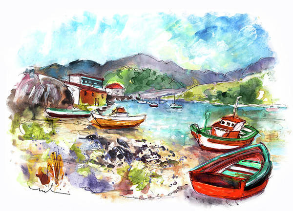 Wall Art - Painting - Boats In Ezaro In Galicia 03 by Miki De Goodaboom