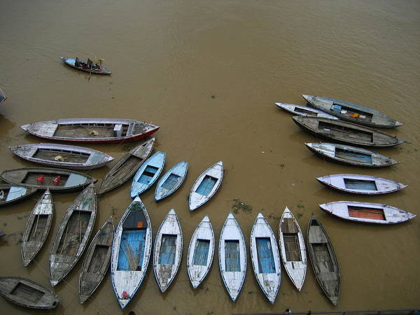 Ganges River Photograph - Boats In Ganges by River And Boats
