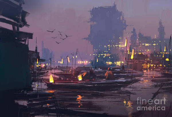 Wall Art - Digital Art - Boats In Harbor Of Futuristic by Tithi Luadthong