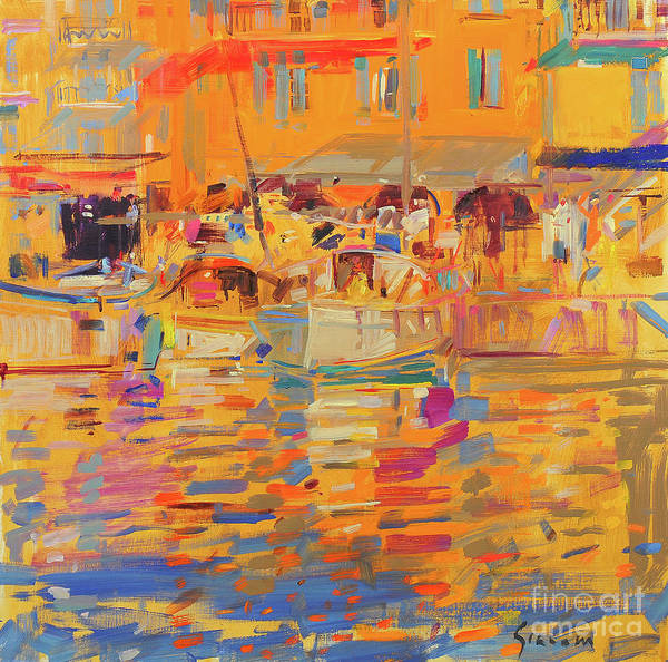 Wall Art - Painting - Boats In Harbor, Saint Tropez by Peter Graham