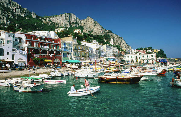 Boats In Marina Grande Harbour, Capri Art Print
