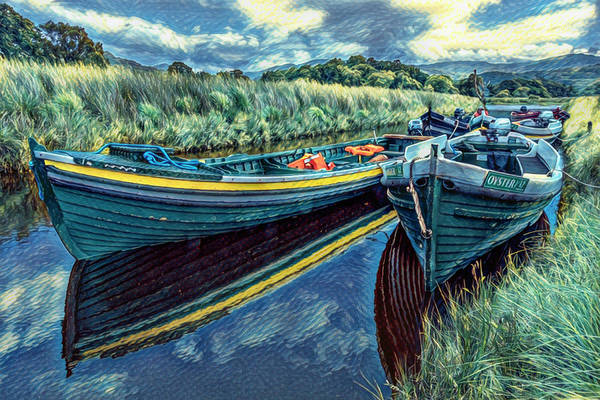Photograph - Boats In The Country In The Style Of Van Gogh by Debra and Dave Vanderlaan