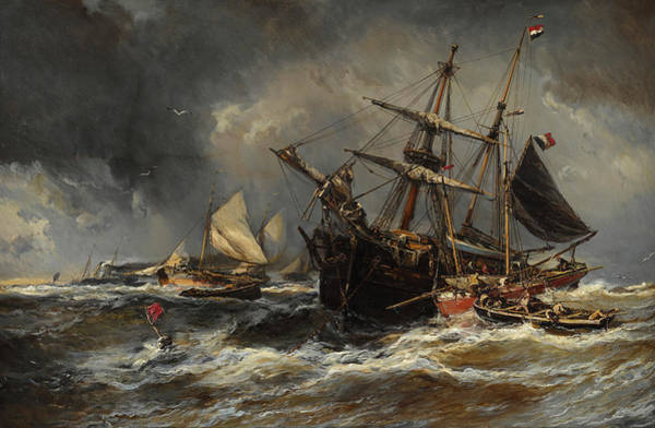 Wall Art - Painting - Boats In The Storm by Eugene Isabey