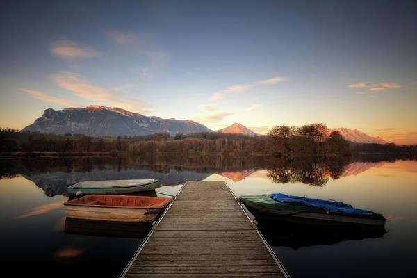 Moored Photograph - Boats Moored By Boardwalk At Lake St by Girolamo Cracchiolo