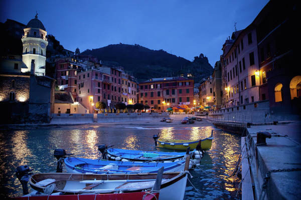 Vernazza Photograph - Boats Moored By Buildings Along The by David Duchemin / Design Pics