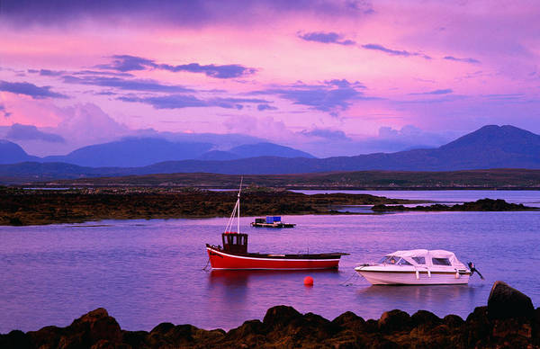 Wall Art - Photograph - Boats Moored In Inlet, Sunset, Ireland by Richard  Cummins