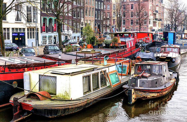 Photograph - Boats Of All Kinds In Amsterdam by John Rizzuto