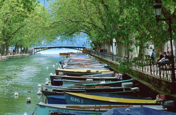 Photograph - Boats On Canal Du Vasse, Annecy by John Elk Iii