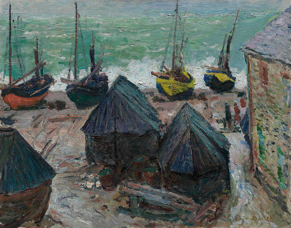 Wall Art - Painting - Boats On The Beach At Etretat by Claude Monet