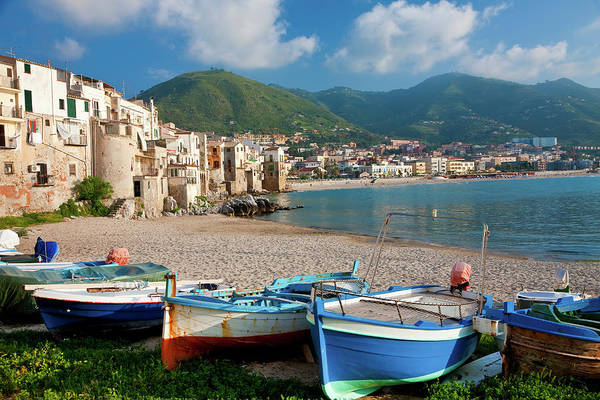 Sicily Photograph - Boats On The Beach, Cefalu, Sicily by Peter Adams
