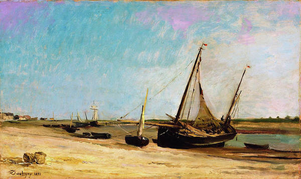 Wall Art - Painting - Boats On The Seacoast At Etaples - Digital Remastered Edition by Charles-Francois Daubigny