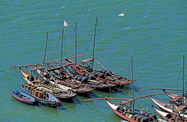 Side-by-side Photograph - Boats With Wine Barrels In A River by Murat Taner