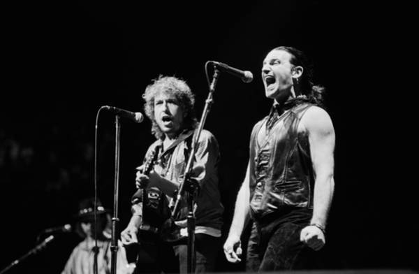 Human Interest Photograph - Bob Dylan Performs With U2 In Concert by George Rose